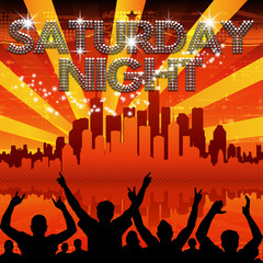Saturday Night poster red city skyline sunburst