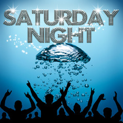Saturday Night poster underwater diving bubbles