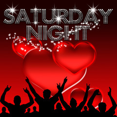 Saturday Night poster valentine's day glass hearts