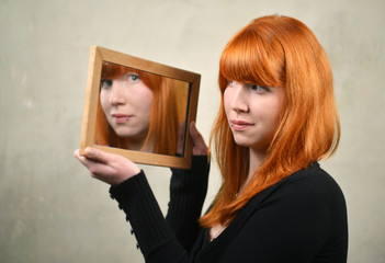 Red Hair Woman and the Mirror