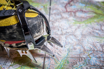 Planning trip with map - trekking