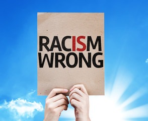 Racism Wrong card with sky background