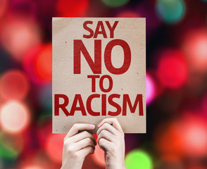 Say No To Racism card with colorful background