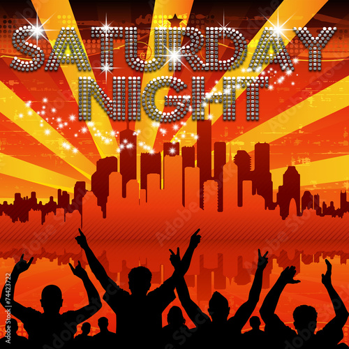 Saturday Night poster red city skyline sunburst