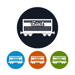Icon the railway freight car for coal,  vector illustration
