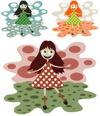 funny little girl in a beautiful dress