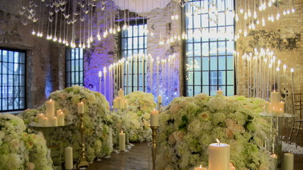 Ceremonial hall richly decorated with flowers