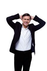 Portrait of upset businessman isolated o na white background