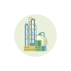 Icon of a chemical plant or refinery processing