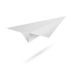 illustration of origami flying paper airplane