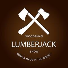 Card of vintage lumberjack label, emblem