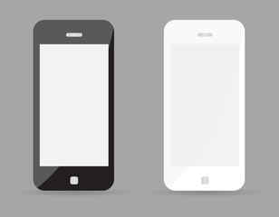 Two realistic smartphone concept - black and white