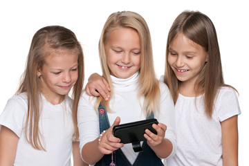 Group of girls with a smartphone