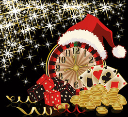 Christmas casino and happy new year card, vector