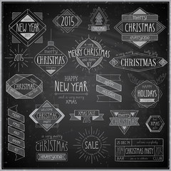Christmas hand drawn emblems set - Chalkboard.