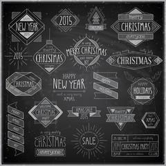 Christmas hand drawn emblems set - Chalkboard.