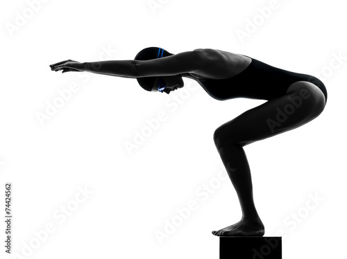 canvas print picture woman competition swimmer on starting silhouette