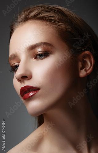Plakát, Obraz Glamor closeup portrait of beautiful sexy stylish caucasian youn