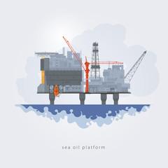 Sea oil platform, vector illustration