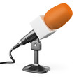 3D orange microphone