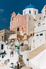 Small street in Oia, Santorini, Greece.