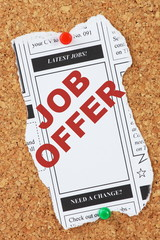 Job Offer in the Classified Advertising section of a newspaper