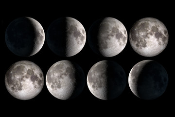 Moon phases collage, elements of this image are provided by NASA