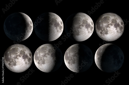 Moon phases collage, elements of this image are provided by NASA - 74425744