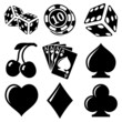 Vector black casino icons set