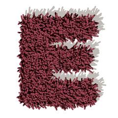 E lettera tappeto microfibra 3d, isolata su sfondo bianco
