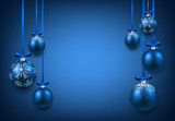Background with blue christmas balls. - 74426592