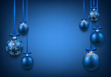 Niebieskim tle z christmas kulki.
