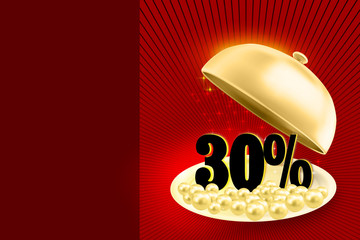 Golden service tray revealing black 30% percents