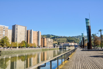 Riverside walk, Nervion river at Bilbao (Spain)
