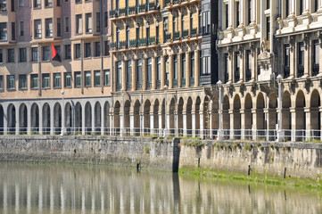 Buildings in front of Nervion river at Bilbao (Spain)