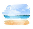 Watercolor illustration of a tropical beach - 74427334