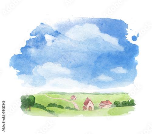 Leinwandbild Motiv Rural landscape. Watercolor illustration of village