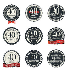 Anniversary retro badges and labels collection