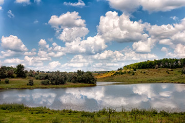 natural reflections on a lake and beautiful clouds