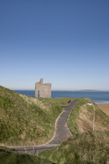 path and benches to Ballybunion castle and beach