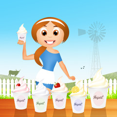 girl with yogurt