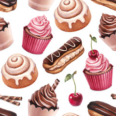 Chocolate eclair, cinnamon bun and cupcakes illustrations