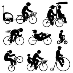 icons of people cyclist and bicycle