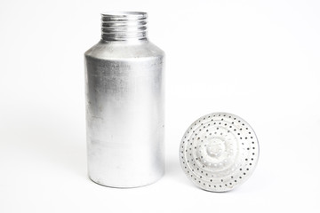 Aluminum saltshaker with the top off