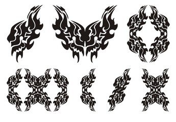 Tribal lion wing symbols. Black on the white