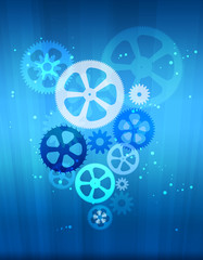 gears on abstract background with glowing beam.