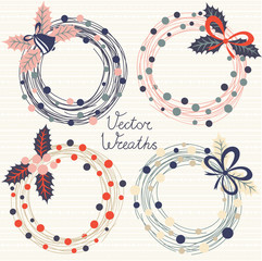 Festive wreaths. Vector set