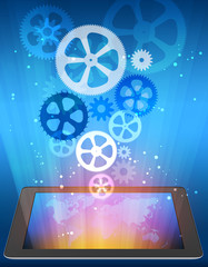 gears on abstract background with tablet electronic.