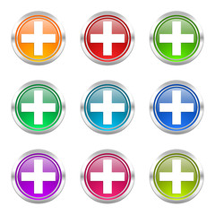 plus colorful vector icons set