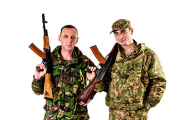 Ukrainian military on a white background.